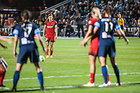 Kansas City, Mo. - Saturday April 23, 2016: Portland Thorns FC midfielder Tobin Heath (17) prepares to take a free kick during a match against FC Kansas City at Swope Soccer Village. The match ended in a 1-1 draw.