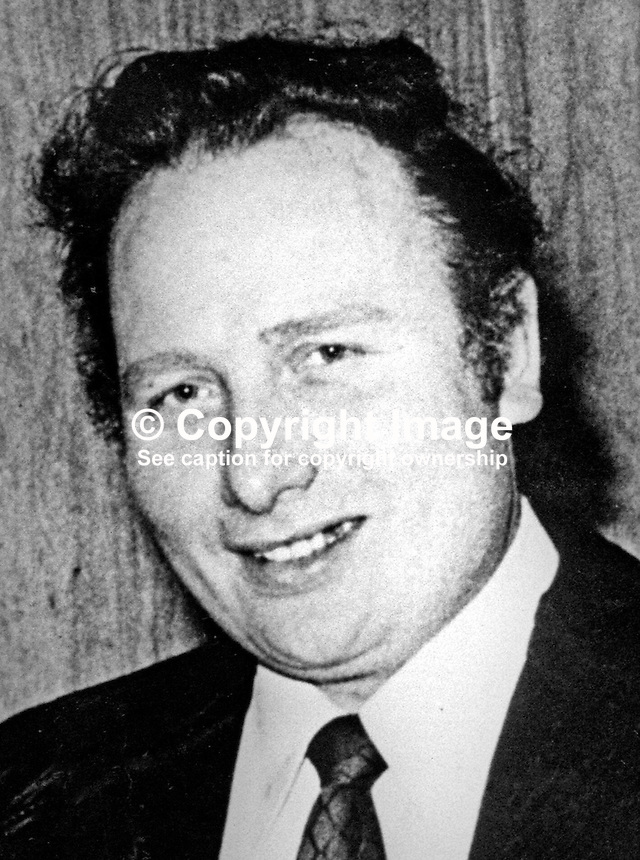 Robert Suitters, 39 years, Protestant, who was murdered 10th June 1975 by the Provisional IRA in a tit-for-tat shooting. Also known as Roy Suitters he was shot in his greengrocer's shop on the Upper Crumlin Road, Belfast N Ireland, UK. 197506100483<br />