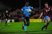 Fleetwood Town's forward Jordy Hiwula (7) vollys over during the Sky Bet League 1 match between Scunthorpe United and Fleetwood Town at Glanford Park, Scunthorpe, England on 17 October 2017. Photo by Stephen Buckley/PRiME Media Images