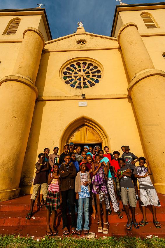 Group of Kanak (Melanesian) children, St. Pierre Baptist Church, Hnathalo, Lifou (island), Loyalty Islands, New Caledonia