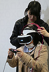 March 27, 2016, Tokyo, Japan - A visitors plays Japan's Sony Computer Entertainment's newly developed PlayStation VR videogame which will go on sale in October at Anime Japan in Tokyo on Sunday, March 27, 2016. PlayStation VR uses a 5.7-inch OLED HMD and 3D audio headphones to offer a virtual reality videogame world to users. (Photo by Yoshio Tsunoda/AFLO) LWX -ytd-