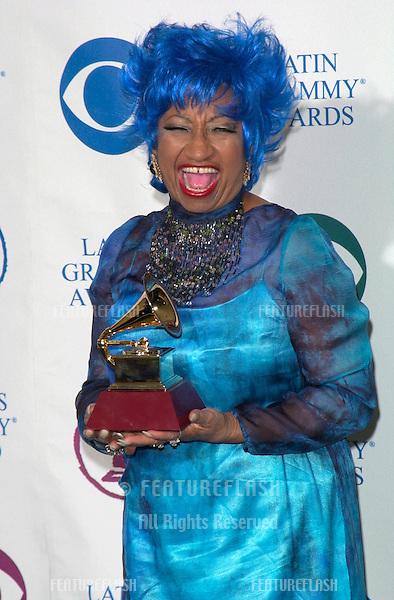Singer CELIA CRUZ, winner of the Best Salsa Performance award at the 1st Annual Latin Grammy Awards at the Staples Center, Los Angeles.