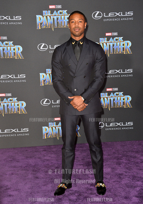 """Michael B. Jordan at the world premiere for """"Black Panther"""" at the Dolby Theatre, Hollywood, USA 29 Jan. 2018<br /> Picture: Paul Smith/Featureflash/SilverHub 0208 004 5359 sales@silverhubmedia.com"""