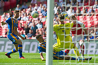 Shrewsbury goalkeeper Dean Henderson saving Rotherham Caolan Lavery shot during the Sky Bet League 1 Play Off FINAL match between Rotherham United and Shrewsbury Town at Wembley, London, England on 27 May 2018. Photo by Andrew Aleksiejczuk / PRiME Media Images.