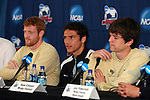 13 December 2007: Wake Forest's Julian Valentin, flanked by Pat Phelan (l) and Sam Cronin (r). The Wake Forest University Demon Deacons held a press conference at SAS Stadium in Cary, North Carolina one day before playing in a NCAA Division I Mens College Cup semifinal game.