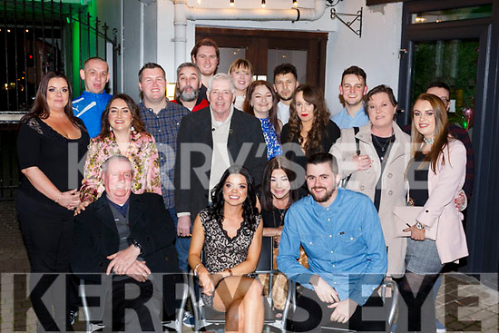 Norma Fitzgerald from Tralee, seated front centre, enjoying her 30th birthday with her family in Benners Hotel on Saturday night.<br /> L-r, Michael Fitzgerald, Norma Fitzgerald and Jason McCoy.