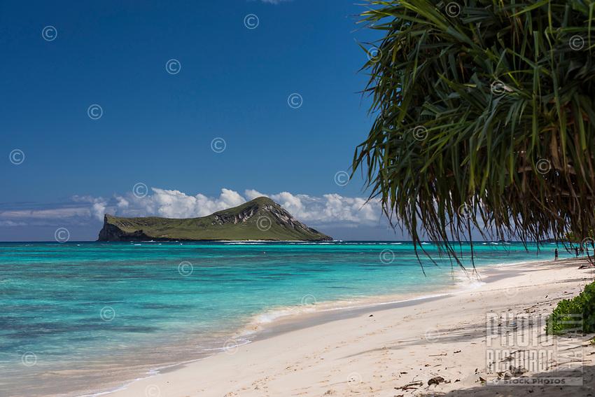 A sunny day at Waimanalo Beach, with Manana (or Rabbit) Island in the distance, Windward O'ahu.