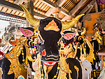 14 JULY 2016 - UBUD, BALI, INDONESIA: A sarcophagus built to resemble a bull in Ubud. The sarcophagus will be used in the mass cremation ceremony Saturday and will hold the ashes and remains that are burned during the ceremony. Local people in Ubud exhumed the remains of family members and burned their remains in a mass cremation ceremony Wednesday. Thursday was spent preparing for Saturday's ceremony that concludes the cremation. Almost 100 people will be cremated and laid to rest in the largest mass cremation in Bali in years this week. Most of the people on Bali are Hindus. Traditional cremations in Bali are very expensive, so communities usually hold one mass cremation approximately every five years. The cremation in Ubud will conclude Saturday, with a large community ceremony.     PHOTO BY JACK KURTZ