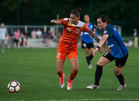 Kansas City, MO - Sunday July 02, 2017:  Poliana Barbosa Medeiros attempts to shield the ball away from Christina Gibbons during a regular season National Women's Soccer League (NWSL) match between FC Kansas City and the Houston Dash at Children's Mercy Victory Field.