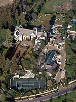 Aerial view of Playboy Mansion, Los Angeles, 1973. Photo by John G. Zimmerman