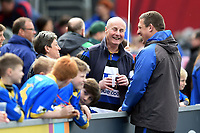 Bath Rugby first team coach Toby Booth speaks with supporters during the pre-match warm-up. Aviva Premiership match, between Saracens and Bath Rugby on April 15, 2018 at Allianz Park in London, England. Photo by: Patrick Khachfe / Onside Images