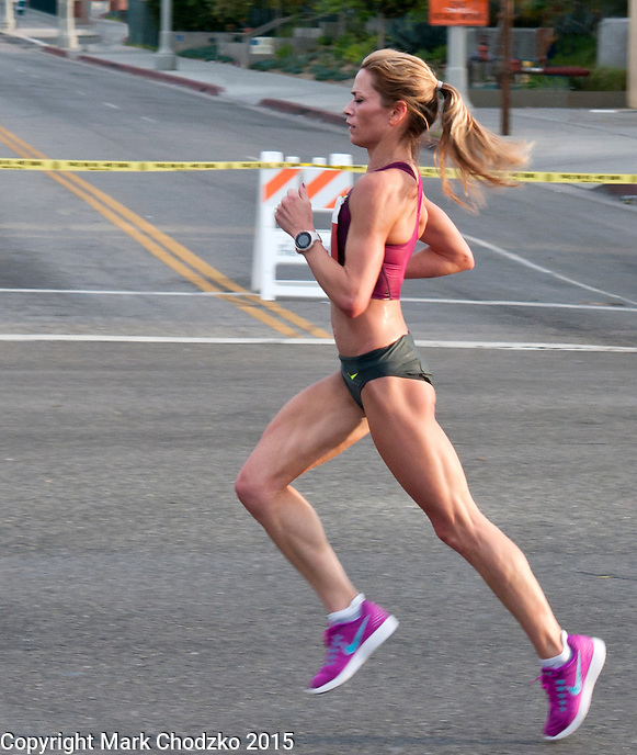 Elite female runner at the L.A. Marathon leads the pack.