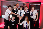 Real Business Challenge 2011.The runners up team from Blackwood Comprehensive School with Coca-Cola Regional Director Mark Dewhurst and Olympic swimmer David Davies..25.11.11.©Steve Pope