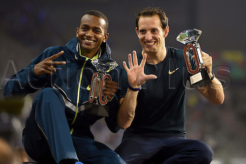 05.09.2014. Brussels, Belgium. IAAF Athletics Memorial Van Damme meeting.   Renaud Lavillenie and Mutaz Essa Barshim  with their trophies