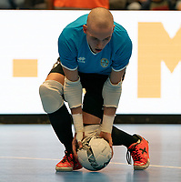 20191012 - HALLE: Halle-Gooik's Tiago Van Beeck (GK) is pictured during the warm up before the UEFA Futsal Champions League Main Round match between FP Halle-Gooik (BEL) and SL Benfica (POR) on 12th October 2019 at De Bres Sportcomplex, Halle, Belgium. PHOTO SPORTPIX | SEVIL OKTEM