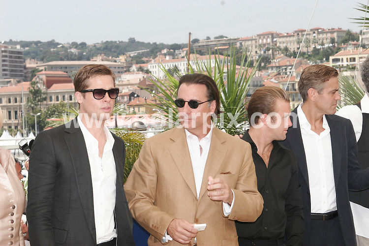**ALL ROUND PICTURES FROM SOLARPIX.COM**.**WORLDWIDE SYNDICATION RIGHTS**.Photocall for Oceans 13 at the 60th Cannes Film Festival on 24.05.07.  This pic: Brad Pitt, Andy Garcia, Scott Caan and George Clooney..JOB REF:   3992       JWC        DATE: 24.05.07.**MUST CREDIT SOLARPIX.COM OR DOUBLE FEE WILL BE CHARGED* *UNDER NO CIRCUMSTANCES IS THIS IMAGE TO BE REPRODUCED FOR ANY ONLINE EDITION WITHOUT PRIOR PERMISSION*