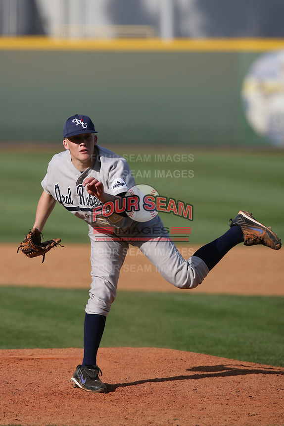 March 20, 2010: Mike Torrence (26) of Oral Roberts pitches against UCLA at UCLA in Los Angeles,CA.  Photo by Larry Goren/Four Seam Images