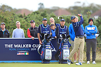Isaiah Salinda (USA) on the 4th tee during the Foursomes at the Walker Cup, Royal Liverpool Golf CLub, Hoylake, Cheshire, England. 07/09/2019.<br /> Picture Thos Caffrey / Golffile.ie<br /> <br /> All photo usage must carry mandatory copyright credit (© Golffile | Thos Caffrey)