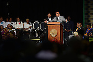 Washington, DC - December 6, 2014: Minister Louis Farrakhan speaks at the memorial service for councilman and former District of Columbia mayor Marion Barry Jr. at the Washington Convention Center, December 6, 2014. Barry, who died at his home, was a civil rights activist, first chair of the Student Nonviolent Coordinating Committee (SNCC), and a four-term mayor.  (Photo by Don Baxter/Media Images International)