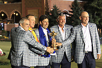 Winning European Team Members after Sunday's Singles Matches of the 39th Ryder Cup at Medinah Country Club, Chicago, Illinois 30th September 2012 (Photo Colum Watts/www.golffile.ie)