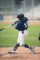 Helena Brewers first baseman Bryan Torres (16) at bat during a Pioneer League game against the Grand Junction Rockies at Kindrick Legion Field on August 19, 2018 in Helena, Montana. The Grand Junction Rockies defeated the Helena Brewers by a score of 6-1. (Zachary Lucy/Four Seam Images)