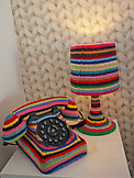 ENGLAND, Brighton, Knitted telephone in a Bedroom at Hotel Pelirocco
