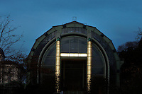 Facade of the Tropical Rainforest Glasshouse (formerly Le Jardin d'Hiver or Winter Gardens), 1936, Rene Berger, Jardin des Plantes, Museum National d'Histoire Naturelle, Paris, France. View from the front of the main Art Deco style entrance whose glass columns are stunningly floodlit at dawn.