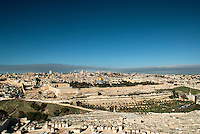 The classic panoramic view of Jerusalem from the Mount of Olives. Jerusalem was built on three hills: Mt. Zion, the Mount of Olives, and Mount Moriah. Moriah is named by the Book of Genesis as the location where God called upon Abraham to offer his son Isaac as a sacrifice. It is where Solomon employed 180,000 laborers to construct the temple that his father David envisioned for Jerusalem, known today as the Temple Mount.