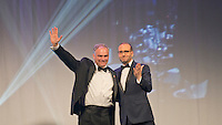 Washington, DC, 10 September 2016, USA:   Senator Tim Kaine, D-VA, the Democratic Vice Presidential candidate shares the state with Human Rights Campaign (HRC) Chief Executive, Chad Griffin during the 20th Anniversary of the HRC dinner. Kaine spoke to a cheering crowd about the progress made by the Lesbian, Gay, Bi-sexual and Transgender (LGBT) community and asked for the audience support for Hilary Clinton in the November 2016 election.  Patsy Lynch/MediaPunch