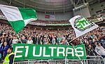 Stockholm 2014-09-28 Fotboll Superettan Hammarby IF - IK Sirius :  <br /> Hammarbys supportrar med flaggor och banderoll<br /> (Foto: Kenta J&ouml;nsson) Nyckelord:  Superettan Tele2 Arena Hammarby HIF Bajen Sirius IKS supporter fans publik supporters