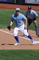 Omaha Storm Chasers first baseman Travis Snider (22) plays defense during the Pacific Coast League game against the Nashville Sounds at Werner Park on June 5, 2016 in Omaha, Nebraska.  Omaha won 6-4.  (Dennis Hubbard/Four Seam Images)