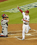 12 October 2012: Washington Nationals rookie outfielder Bryce Harper waves to family as he crosses the plate after hitting a solo home run in the third inning of Postseason Playoff Game 5 of the National League Divisional Series against the St. Louis Cardinals at Nationals Park in Washington, DC. The Cardinals rallied with four runs in the 9th inning to defeat the Nationals 9-7; thus winning the NLDS and moving on to the NL Championship Series. Mandatory Credit: Ed Wolfstein Photo