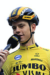 Wout Van Aert (BEL) Team Jumbo-Visma on stage at sign on before the 2019 Gent-Wevelgem in Flanders Fields running 252km from Deinze to Wevelgem, Belgium. 31st March 2019.<br /> Picture: Eoin Clarke | Cyclefile<br /> <br /> All photos usage must carry mandatory copyright credit (© Cyclefile | Eoin Clarke)