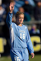 North Carolina Tar Heels defender Rachel Givan (16) during player introductions. The North Carolina Tar Heels defeated the Notre Dame Fighting Irish 2-1 during the finals of the NCAA Women's College Cup at Wakemed Soccer Park in Cary, NC, on December 7, 2008. Photo by Howard C. Smith/isiphotos.com