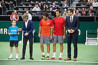 Rotterdam, The Netherlands. 16.02.2014.Jean-Julien Rojer(NED)/Horia Tecau(ROE)(R)receive the runners up trophy, right tournament director Richard Krajicek,  ABN AMRO World tennis Tournament<br /> Photo:Tennisimages/Henk Koster