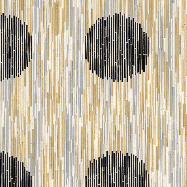 Ikat, a hand-cut stone mosaic, shown in polished in Nero Marquina, Saint Laurent, Crema Marfil, and Renaissance Bronze.