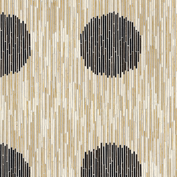 Ikat, a hand-cut stone mosaic, shown in polished in Nero Marquina, Saint Laurent, Crema Marfil, and Renaissance Bronze, is part of the Ikat collection by New Ravenna.