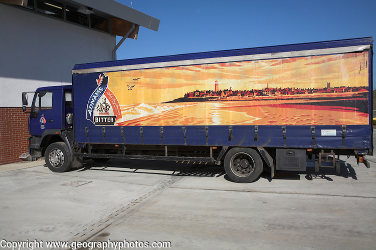 Adnams brewers delivery lorry at their new distribution centre Reydon, near Southwold, Suffolk, England.