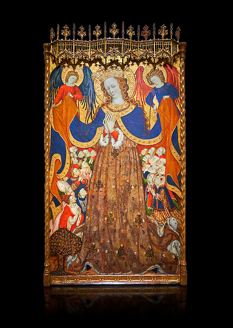 Gothic Catalan altarpiece depicting the Madonna of Mercy by Bonant Zaortiga, circa 1430-1440, tempera and gold leaf on wood, from the church of Mare de Dieu de Carrasca , Blancas, Terol, Spain. Against a black background. <br /> Bonnat Zaortiga was one of the most prominent representatives of the international Gothic. The Mother of God of Mercy  protects humans with her cape, symbolizing one of the most feared evils of the European Middle Ages, plague, often understood as a punishment for the sins of mankind. This was the central panel of the altarpiece of the church of the Mother of God. National Museum of Catalan Art, Barcelona, Spain, inv no: MNAC 3945.