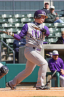Jake Lowery of James Madison University hitting in a game against UC Irvine at the Baseball at the Beach Tournament held at BB&T Coastal Field in Myrtle Beach, SC on February 28, 2010.