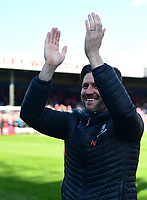 Lincoln City's assistant manager Nicky Cowley applauds the fans at the final whistle<br /> <br /> Photographer Andrew Vaughan/CameraSport<br /> <br /> The EFL Sky Bet League Two - Lincoln City v Cheltenham Town - Saturday 13th April 2019 - Sincil Bank - Lincoln<br /> <br /> World Copyright &copy; 2019 CameraSport. All rights reserved. 43 Linden Ave. Countesthorpe. Leicester. England. LE8 5PG - Tel: +44 (0) 116 277 4147 - admin@camerasport.com - www.camerasport.com