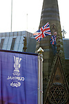 Rangers Fans in Manchester, 14/05/2008. Albert Square, UEFA Cup Final. A fan of Glasgow Rangers climbing on a statue in the centre of Manchester prior to watching the UEFA Cup final against Zenit St. Petersburg on a large screen in Albert Square, the location of one of the UEFA Fan Zones. The match was staged at the City of Manchester Stadium and was won by the Russian team by two goals to nil. It was Rangers' first European final appearance since they won the Cup-Winners Cup in 1972 and around 150,000 fans gathered in Manchester. Photo by Colin McPherson.