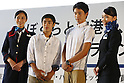 (L-R) Kenzo Shirai, Ryosuke Irie, <br /> AUGUST 25, 2013 - <br /> Bid partner airlines, All Nippon Airway (ANA) and Japan Airlines (JAL) staff and families teamed up to form a &quot;Good Luck to ALL&quot; for the Event to promote the city's bid to host the 2020 Olympic Games at Haneda airport in Tokyo. <br /> This event, over 1,000 people throw their hats into the air, was held to aim for an entry in the Guinness Book of World Records.     <br /> (Photo by AFLO SPORT)