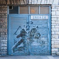 A garage door in the city of Pula, Istria County, Croatia
