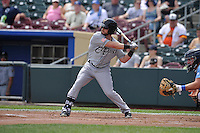 El Paso Chihuahuas Ryan Schimpf (3) swings during the game against the Omaha Storm Chasers at Werner Park on May 30, 2016 in Omaha, Nebraska.  El Paso won 12-0.  (Dennis Hubbard/Four Seam Images)