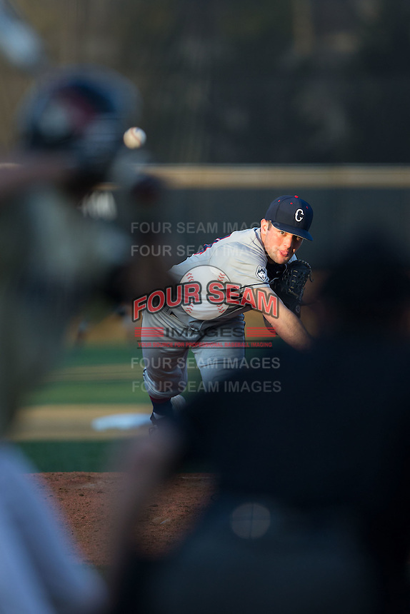 UConn Huskies starting pitcher Andrew Zapata (24) in action against the Wake Forest Demon Deacons at Wake Forest Baseball Park on March 17, 2015 in Winston-Salem, North Carolina.  The Demon Deacons defeated the Huskies 6-2.  (Brian Westerholt/Four Seam Images)