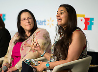"""NWA Democrat-Gazette/JASON IVESTER<br /> Actress Maysoon Zayid speaks Wednesday, May 3, 2017, during a panel called """"Lights! Camera! Inclusion!"""" at the Record in Bentonville as part of the Bentonville Film Festival."""