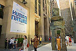 Human Nature, by artist Ugo Rondinone, is an outdoor art installation specifically created for its location in front of 30 Rockefeller Plaza, and features nine colossal structures. The 16-foot to 20-foot tall human shaped stone figures are made of roughly shaped slabs of bluestone and each weigh up to 30,000 pounds. This free exhibit, presented by Nesporesso and organized by Public Art Fund and Tishman Speyer, is on view through July 7, 2013.