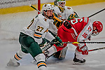 29 December 2018: University of Vermont Catamount Defenseman Cory Thomas, a Sophomore from St. Brieux, Saskatchewan, defends the crease in the third period against the Rensselaer Engineers at Gutterson Fieldhouse in Burlington, Vermont. The Catamounts rallied from a 2-0 deficit to defeat RPI 4-2 and win the annual Catamount Cup Tournament. Mandatory Credit: Ed Wolfstein Photo *** RAW (NEF) Image File Available ***