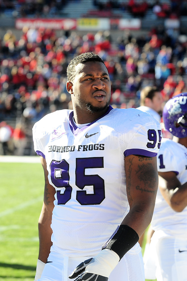 Nov. 27, 2010; Albuquerque, NM, USA; TCU Horned Frogs defensive end Clarence Leatch against the New Mexico Lobos at University Stadium. TCU defeated New Mexico 66-17 to finish the season undefeated. Mandatory Credit: Mark J. Rebilas-